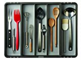 Madesmart 2 by 16 by 13-1/4 to 21-1/4-Inch Expandable Utensil Tray, Granite