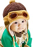 Fullkang Baby Boys Earflap Hat, Winter Warm Pilot Aviator Crochet Caps (Coffee)