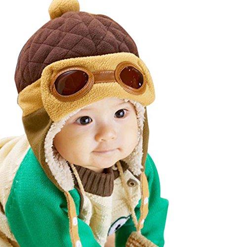 FEITONG Cute New kids Girls Boys Beanie Pilot Crochet Earflap Hats Winter Warm Cap Hat + 1 PC Women Headband