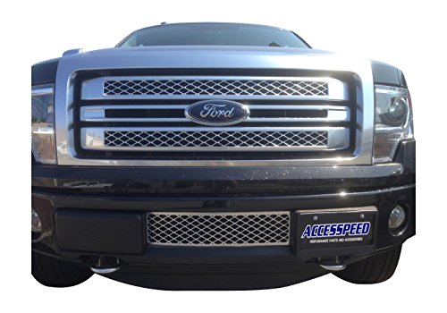 EcoBoost Grilles 2009-2014 Ford F150 Lower Bumper Grille Chrome OEM Style Durable ABS Plastic Lower Bumper Insert Grille - Accesspeed 7002-1401 2009 2010 2011 2012 2013 2014 Ford F-150 (Ford F-150 Grille Chrome)
