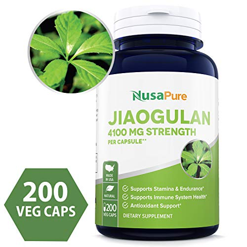 - Jiaogulan 4100mg Per Caps 200 Veggie Capsule (Extract 10:1, Non-GMO & Gluten Free) Gynostemma Pentaphyllum AMPK Activator, Caffeine-Free Adaptogen Pills, Ginseng Root Powder Extract - Made in USA