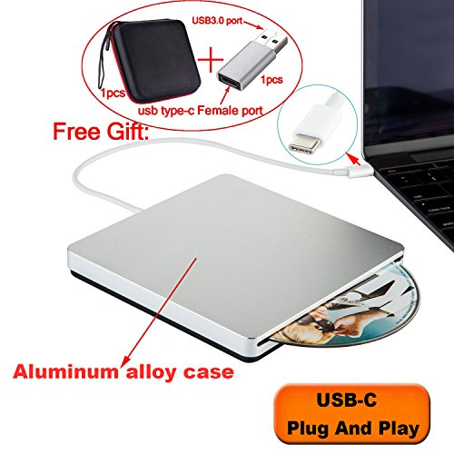 Guamar USB-C SuperDrive Aluminum Type-c External DVD CD Burner Drive DVD CD +/-RW Rewriter with High Speed Data Transfer for MacBook Pro/Desktop/Laptop Windows 10/8/7/VistaPort Plug and Play (Silver)
