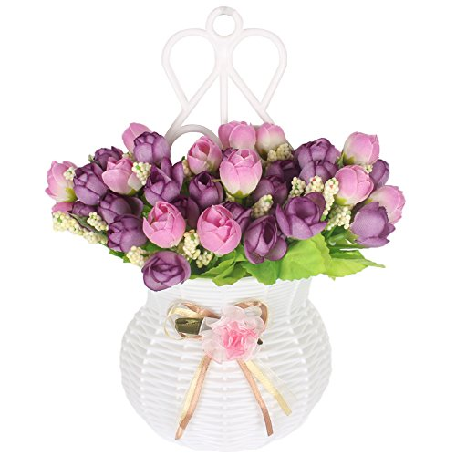 JAROWN Hanging Flower Basket Arrangement with Silk Rose Artificial Flowers Set for Wall Home Decoration(Purple Rose) (Gerbera Daisy Boutonniere Wedding)
