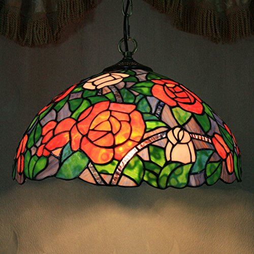 (TOYM US-16 inches peony flowers stained glass Tiffany single-head chandelier)