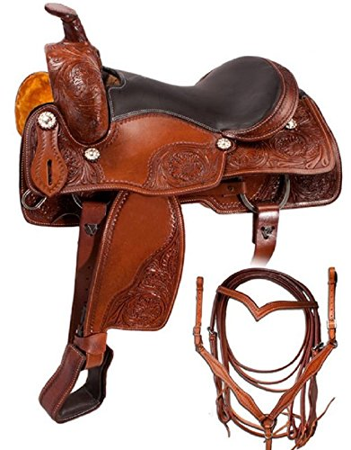 Zohran New Handcrafted Pure Leather Western Gaited Barrel Pleasure & Trail Horse Saddle With Tack Set ()