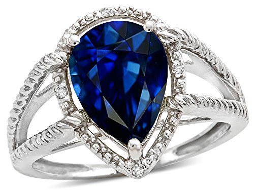 White Gold Pear Shape Ring - Star K Pear Shape 11x8mm Created Sapphire Ring 10 kt White Gold Size 9