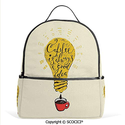 3D Printed Pattern Backpack Coffee is Always A Good Idea Quote in Tool Dripping to Mug Image Fun Artwork,Yellow Red Brown,Adorable Funny Personalized Graphics