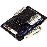 men's genuine leather slim wallet with money clip