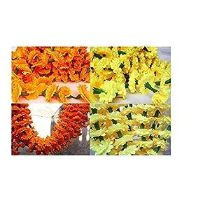Nexxa 5 Feet Long Strands Marigold Garlands, Flower Garland, Indian Wedding Flowers, Diwali Marigold, Party Decor, Wedding, Diwali Mix Color Yellow and Orange Set of 20 pcs (10 Orange + 10 Yellow) 76