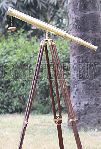 Shiny Brass Nautical Single Barrel Telescope Wooden Tripod Ideal Home Decor Brass Finish & Brown by Collectibles Buy (Image #6)