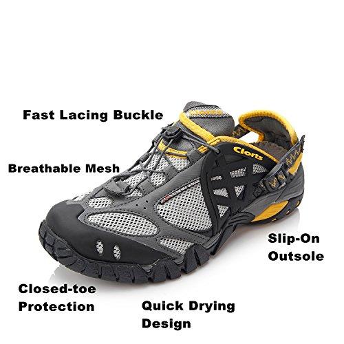 Clorts Herren Mesh Slip auf Wasser Schuhe WT05 Grau