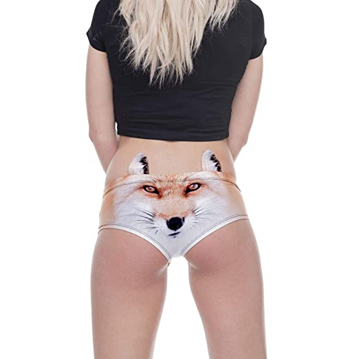 60bfd4feff25 Women's Flirty Sexy Funny Naughty 3D Printed Animal Underwears Briefs with Cute  Ears (Multicolor -