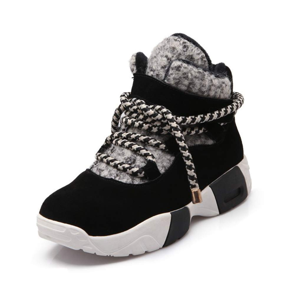 A Jackets Women's Sneakers, 2018 Autumn and Winter The New Leather Women's shoes Breathable Sports shoes Round Head with Thick Platform High shoes
