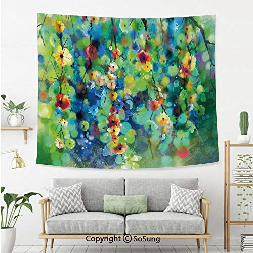 8' Wool Purse - Watercolor Flower Home Decor Wall Tapestry,Vibrant Blooms Clusters Down from Branch Spring Season Image,Bedroom Living Room Dorm Wall Hanging,92X70 Inches,Green Blue
