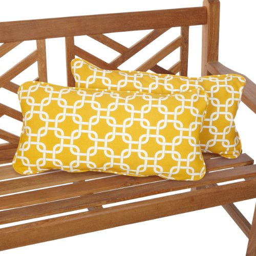 Mozaic Company Indoor Outdoor 12 by 24-inch Corded Pillow, Linked Yellow, Set of 2