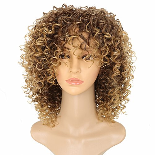 MARIAN Women's African American Wigs Synthetic Curly Style Brown Wigs]()