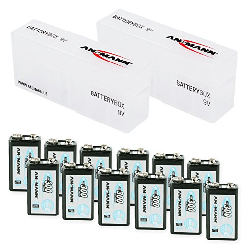ANSMANN Rechargeable 9V Battery 300mAh pre-charged Low Self Discharge 9Volt NiMH Rechargeable Battery (12-Pack) + 2x Batterybox for 9V by Ansmann