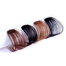 Remeehi Gorgeous Human Hair Flat Bangs/Fringe Hand Tied Bangs Mini Fashion Clip-in Hair Extension Natural Black