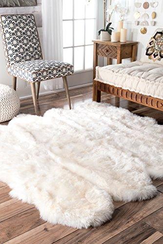 Rugs Octo Sheepskin - nuLOOM Octo Sheepskin Hand Made Area Rug, 5' 3