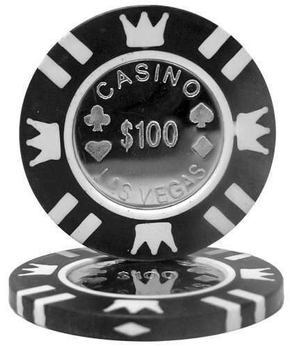 Brybelly Coin Inlay Poker Chip 15-gram Heavyweight Clay Composite - Pack of 50 ($100 Black) ()