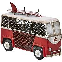DecoBREEZE Table Fan Single-Speed Electric Circulating Fan, Red and White Surf Van Figurine Fan
