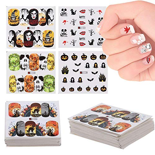 Xiangfeng 48 Sheet Halloween Nail Art Stickers Transfer Nail Art Decal Manicure Skull Pumpkin Stickers Vinyls Decals for Women Girls for $<!--$10.99-->