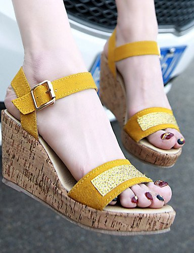 ShangYi Womens Shoes Wedge Heel Wedges/Heels/Peep Toe/Platform/Comfort/Open Toe Sandals Casual Black/Yellow Black