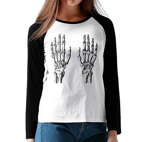 Umison Hands Skull Women Long Sleeve Baseball Raglan Shirt Black - Walger Sonya Hand