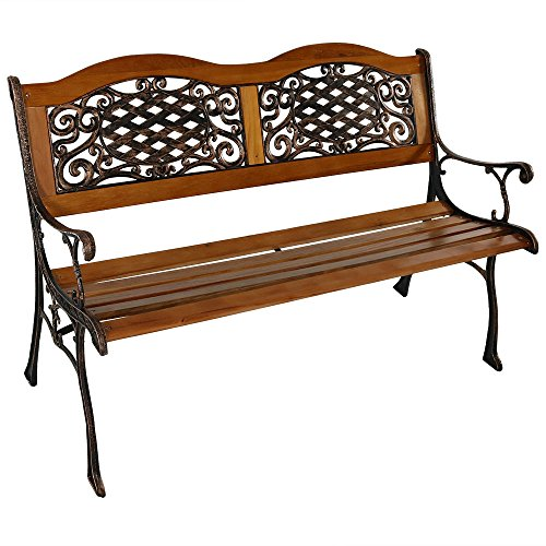 Sunnydaze 2-Person Outdoor Garden Bench, Cast Iron and Wood Frame with Ivy Crossweave Design, 49-Inch (Cast Iron Garden Wood Furniture)
