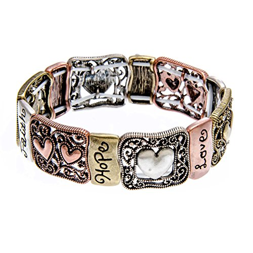 cheap PammyJ Tri-Tone Hope Faith Love Inspirational Stretch Bangle Bracelet for cheap