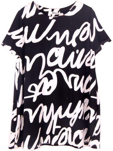 Black Casual Asie Ads Shirt Fashion Femmes Chemisier Letter 4Hq4UYwCfF