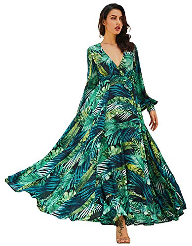 (R.Vivimos Women Chiffon Print V Neck Long Sleeve Tie Waist Casual Boho Maxi Dresses (Small,Green))