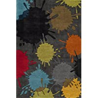 Momeni Rugs LMOTWLMT-9GRY3050 Lil Mo Hipster Collection, Kids Themed Hand Carved & Tufted Area Rug, 3 x 5, Grey