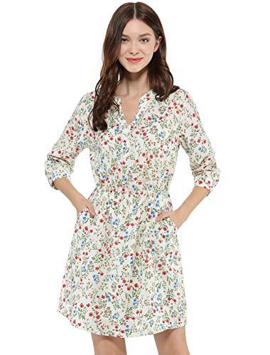 Allegra K Women's Floral Print Button Down V Neck 3/4 Sleeves Side Pockets Vintage Dress White L (US 14)