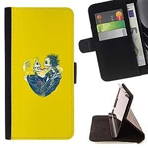 Momo Phone Case / Flip Funda de Cuero Case Cover - Cráneo amarillo novia Amor de primavera divertido - HTC One M8