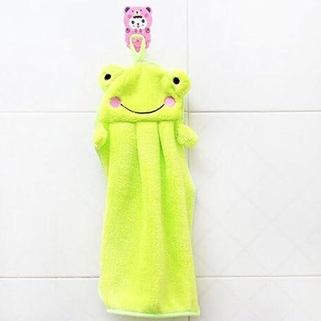 BAIDO Lovely Nursery toalla de mano Soft peluche de tela de dibujos animados colgando trapo bañando
