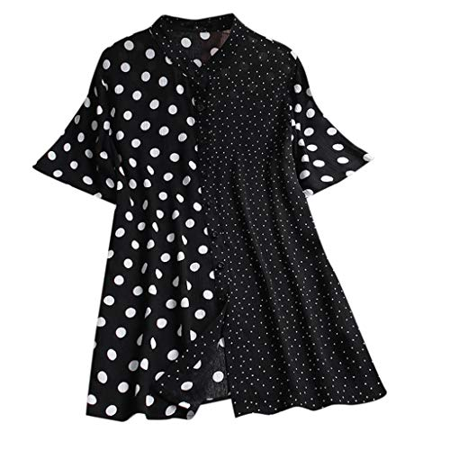 LYN Star ◈ Women's Blouses Polka Dot Short Sleeve Elegant Tee Tops Casual Shirts asual Scoop Neck Tops Tee S-XXL Black ()