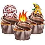 Fathers Day Fireman Cake Decorations - Edible Stand-up Cup Cake Toppers by AKGifts