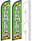 2 Windless, Swooper, Feather, Banner Flags FARMERS MARKET, Poles & Ground Spikes For Sale