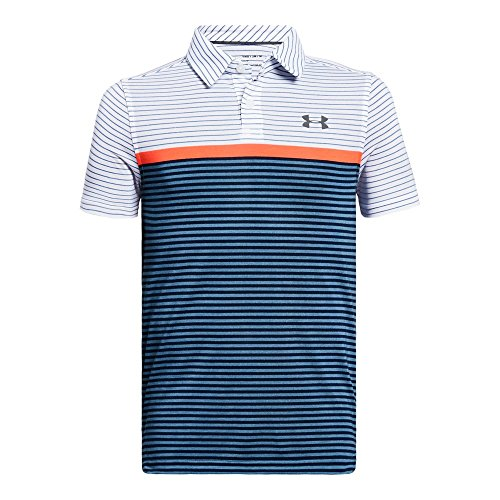 Under Armour Boys' Threadborne JS Super Stripe Polo, White (100)/Rhino Gray, Youth Small by Under Armour