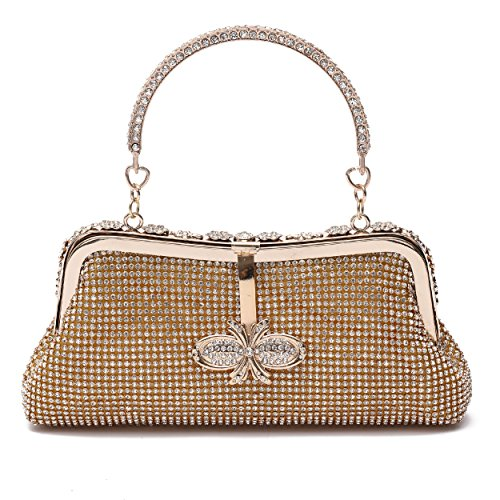 Clutch Purse for Women Crystal Evening Bags and Clutches Rhinestone Evening Handbags (Gold-C)