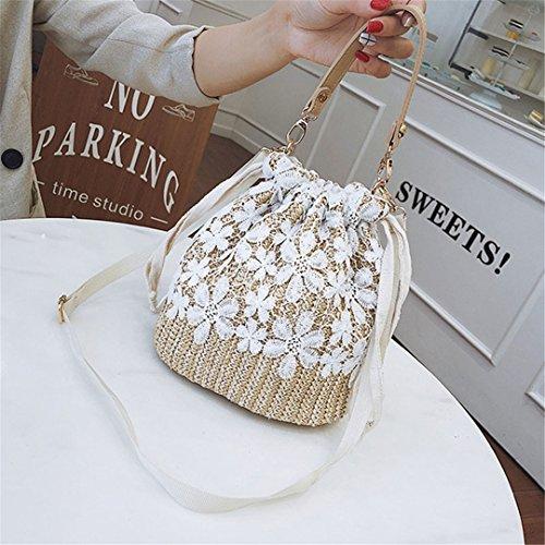 Manualbages Bolso De La Playa De Las Mujeres De Verano Bolsas De Paja Femenina Flor Lady Travel Weave Bolso De Hombro Vintage Knit Crossbody Ss3103 Brown Brown