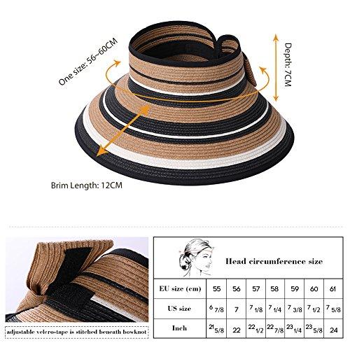 Straw Sun Visor Women Foldable Floppy Wide Brim Travel Hat Gardener Beach Hats Pink by Fancet (Image #3)