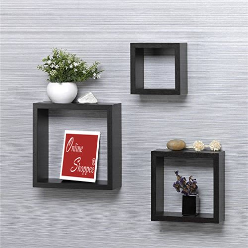 Onlineshoppee Wooden Square Wall Shelf Set Of 3