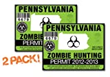 Pennsylvania-ZOMBIE HUNTING PERMIT TAG-2 PACK-DECAL STICKER-LICENSE-2012/2013-PA
