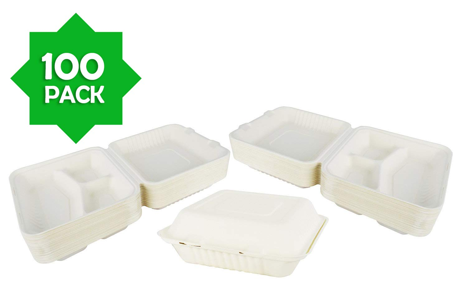 Green Earth 9-Inch, 100-Count, 3-Compartment, Compostable Clamshell, Natural Bagasse (Sugarcane Fiber), Take-Out/To-Go Food Boxes - Biodegradable Containers, Hinged Lid - Microwave-Safe - Gluten-Free by Green Earth