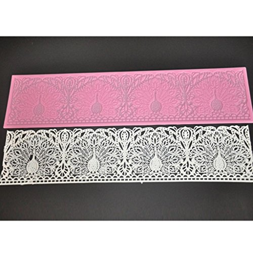 FOUR-C Cake Baking Mold Silicone Cake Mat Lace Pad for Cake Decorating Color Pink