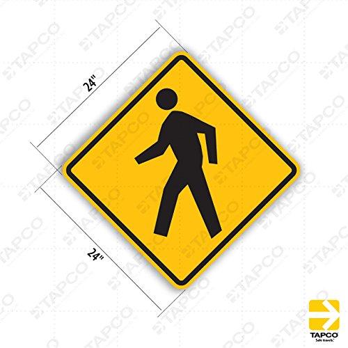 "Tapco W11-2 Engineer Grade Prismatic School Sign, Legend ""Pedestrian Crossing (Symbol)"", 24"" Width x 24"" Height, Aluminum, Black on Yellow"