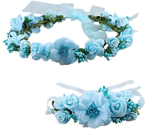 Coolwife Flower Crown Wedding Hair Wreath Floral Headband Garland Wrist Band Set(Sky Blue)