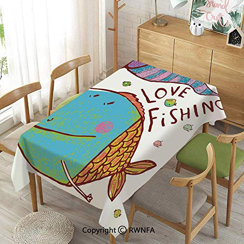 - Tablecloth for Dining Room for Rectangle Tables,Kids Cute Large Fat Fish Holding a Flag with Love Quote Humor Fun Nursery Theme,Indoor Outdoor Camping Picnic,Multi,55
